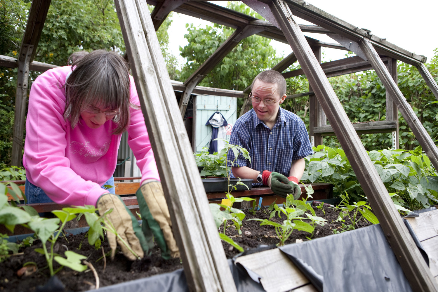 Service User and Support Worker in greenhouse